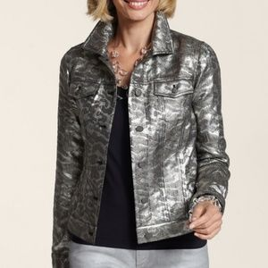 NWT Chico's Jacket Metallic Jacquard Medium